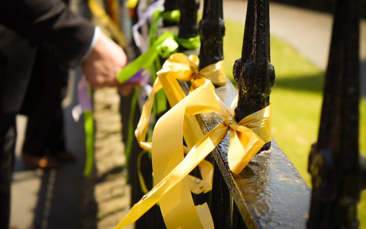 Last day of the Royal Commission into Abuse in Care.  Attendees and witnesses tied ribbons at the nearby St Patrick and St Joseph Cathedral.