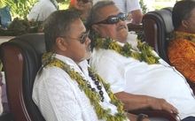 Samoa Minister of Police and Prisons, Sala Fata Pinati (right) and Minister of Justice, Faaolesa Katopau Ainu'u.