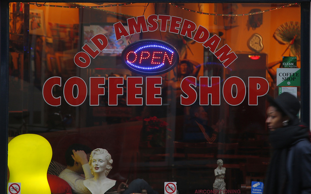 The window of a coffee shop selling recreational drugs in Amsterdam.