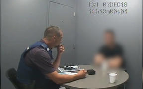 Millane trial: blurred screengrab of police interview with accused.