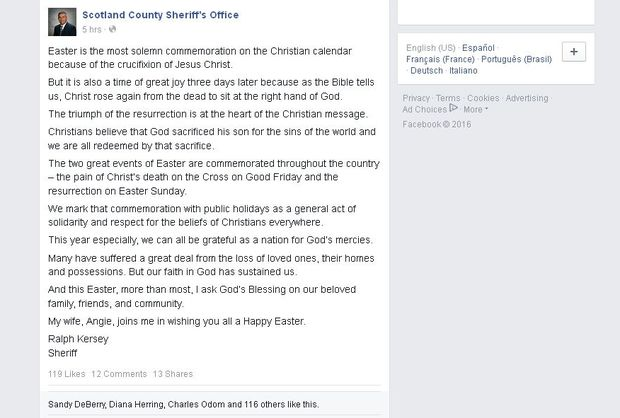 Sheriff Ralph Kersey with his Easter message.