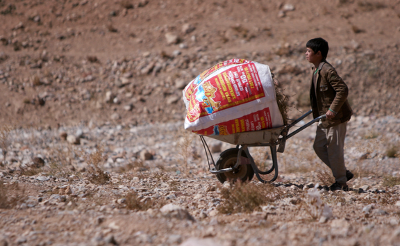 FORMER NZDF FIRING RANGE, BAMYAN — A boy crosses one of the ranges with a load of brushwood. Households in the villages surrounding the range are poor and many cannot afford electricity or gas so rely on the firewood.