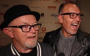 Dave Dobbyn and Peter Urlich of Th' Dudes backstage at the 2019 VNZMAs