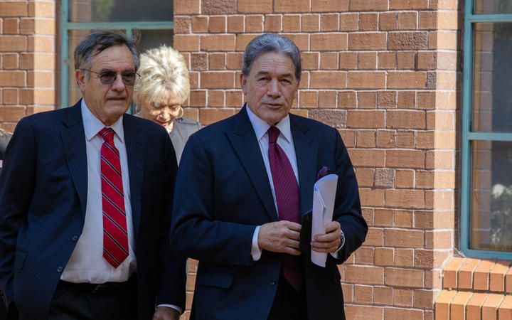 Brian Henry and Winston Peters entering the High Court in Auckland