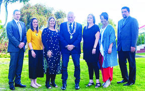 Five of Wairoa's seven elected members identify as Māori. The council is made up of Jeremy Harker, left, Melissa Kaimoana, Denise Eaglesome-Karekare, Mayor Craig Little, Danika Goldsack, Hine Flood and Chaans Tumataroa-Clarke.