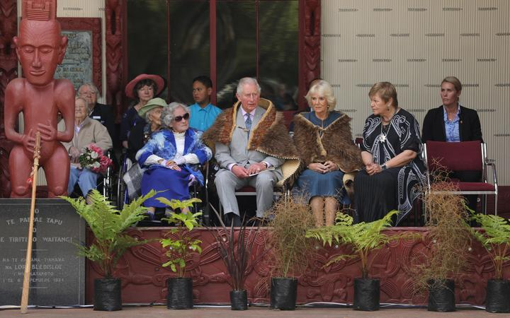 Prince Charles and Camilla, Duchess of Wales, at the Waitangi grounds.