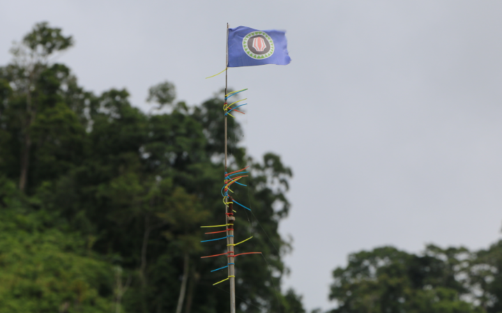 Bougainvlle flag flies high at Panguna.