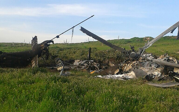 This image is reported to show the remains of Azerbaijan's downed Mi-24 helicopter in a field in the Armenian-seized Azerbaijani region of Nagorny-Karabakh.