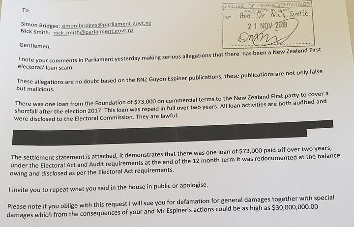 Letter from Brian Henry sent to National MP Nick Smith and leader Simon Bridges.