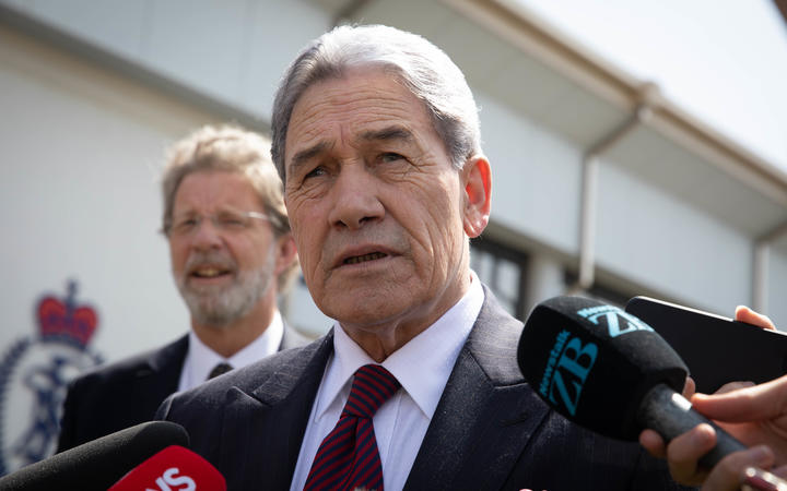 Deputy Prime Minister Winston Peters during a stand-up interview after attending a Police cadet graduation 21 November 2019.