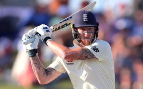 England's Ben Stokes hits a shot on day one of the first Test cricket match between England and New Zealand at Bay Oval in Mount Maunganui on November 21, 2019.