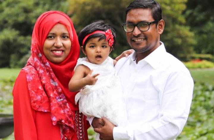 Sheik Hasan Rubel, his wife Afsana and daughter Arveen