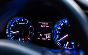 speedometer car mileage close up car temperature