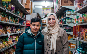 (L-R) Aliyaan Abbas and mother Masooma Mehdi in their local desi food store.
