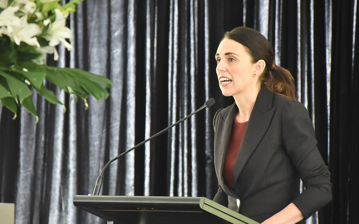Prime Minister Jacinda Ardern at the 40th anniversary commemorations of the Erebus disaster.