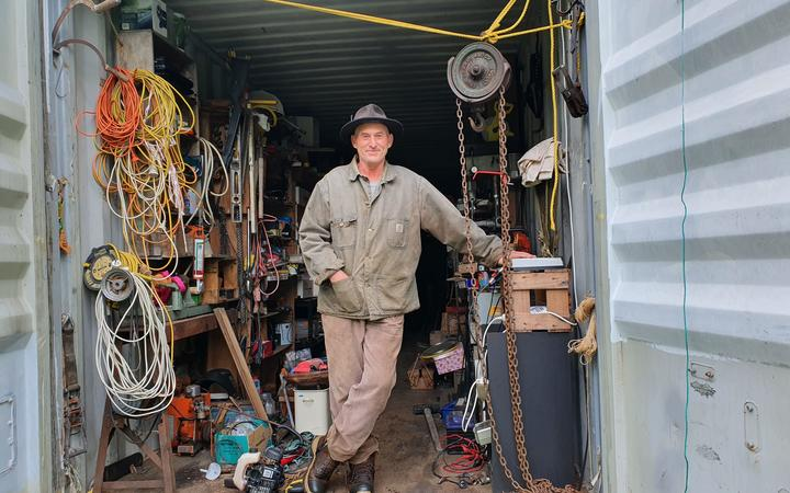 Gypsy caravan-maker and Kimbolton Sculpture Festival entrant Lez Carter in his shed