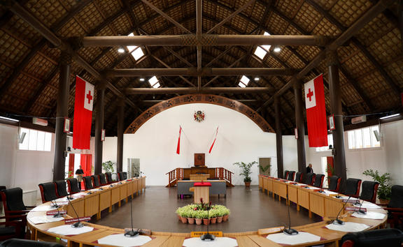 Tonga's Legislative Assembly at its temporary location in the Tongan National Cultural Centre