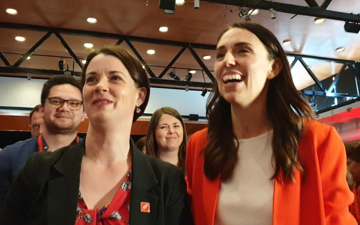 Claire Szabo (left) and Prime Minister Jacinda Ardern.