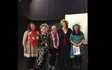 Kerrie Noonan (second from right ) photographed with the Mary Potter Hospice team (L to R) Vanessa Eldridge Maori Liaison, Teresa Read Quality Manager, Sister Margaret Lancaster Board member and Clare O'Leary Palliative Care Educator.