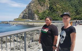 Protect Our Unique Coastline members Miriama Teahipuhia Allen (L) and Sharon Raynor standing at Óhau point, one of the stopping areas they oppose.