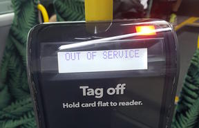 An out-of-service Hop card reader on an Auckland bus.