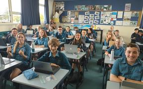 Year 9 students at Glendowie College, Auckland.