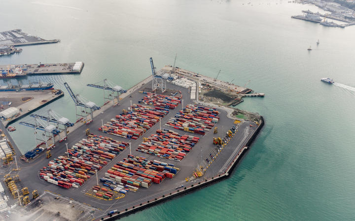 Auckland, New Zealand - May 25, 2017:  Aerial view of the port of Auckland New Zealand.
