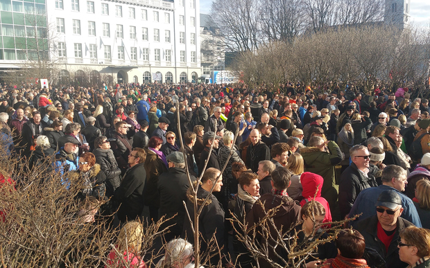 People gather in Reykjavik on Monday to demand the resignation of the Prime Minister of Iceland over revelations in the so-called Panama Papers.