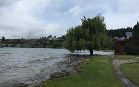 The beaches at Lake Wanaka's town waterfront are now submerged.