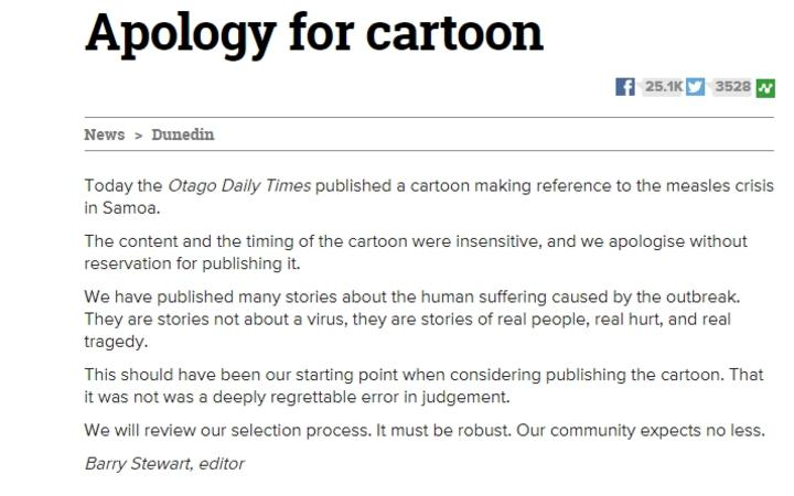 Otago Daily Times cartoon apology