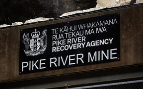 A sign for the recovery agency above the entry to Pike River Mine, on the day of first re-entry.