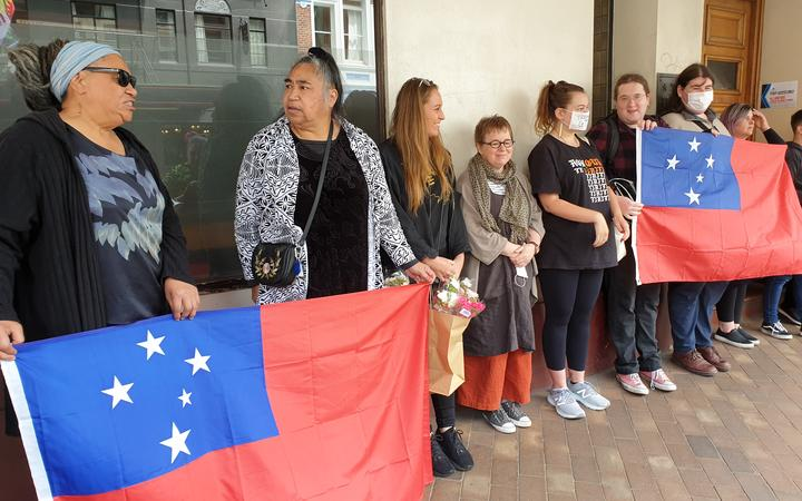 A protest against cartoonist Garrick Tremain outside the Otago Daily Times' Dunedin offices.