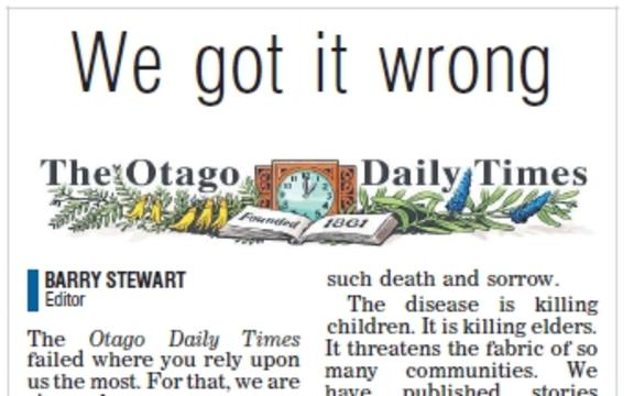 Otago Daily Times Editorial apologising for the Samoa measles cartoon.