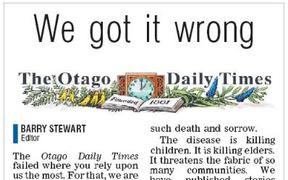 The front page mea culpa in the ODT on Thursday.
