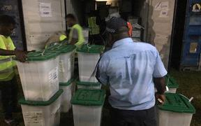 Ballot boxes being brought to Buka for the count.