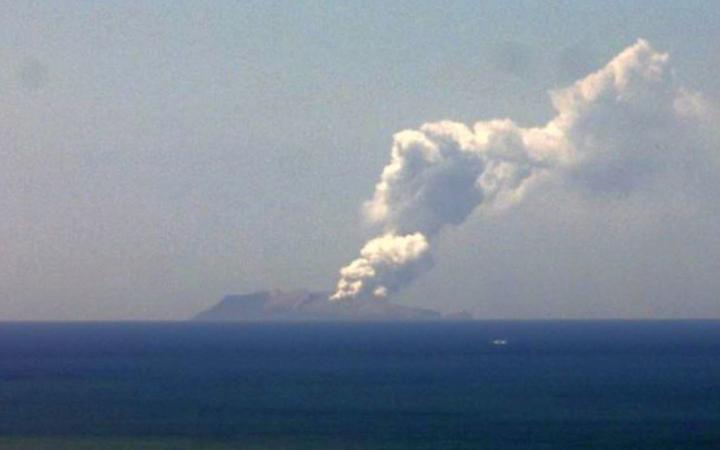 The ash cloud rising from White Island today.