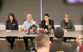 From left to right - Director of Civil Defence and Emergency Management Sarah Stuart-Black, Waikato Police Superintendent Bruce Bird, Prime Minister Jacinda Ardern, and Whakatane Mayor Judy Turner.
