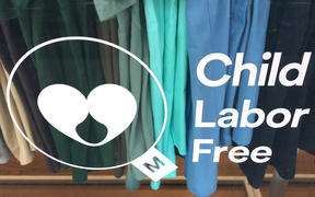 AUCKLAND - MAR 27 2018:Child labor free mark. Products certified with the mark provides assurance that brands carrying it are ethically committed and ensuring their business is free of child labor