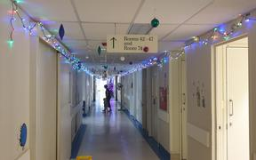 An illuminated corridor in the Hawke's Bay Hospital.