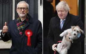 Labour Party leader Jeremy Corbyn, left) and PM Boris Johnson, carrying his dog Dilyn, at polling stations.
