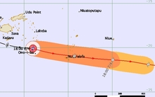 Tropical Cyclone Zena threat track map