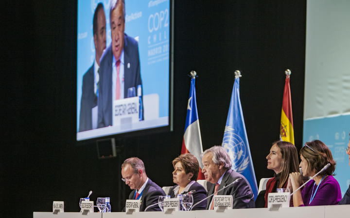 Antonio Guterres, Secretary General of UN (centre), talks during the High Level Global Climate Action Event in the COP25 Summit, Madrid.