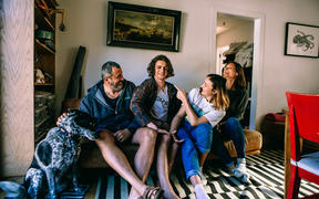 (L-R) Nina, Francisco Blaha, Felix Blaha, Kika Blaha, Vibeke Brethouwer in their home on Waiheke Island.