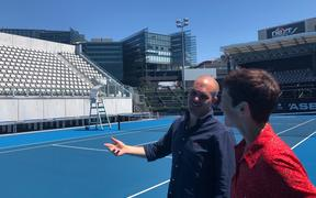 Karl Budge talks to The Detail's Sharon Brettkelly on centre court at Stanley St in Auckland