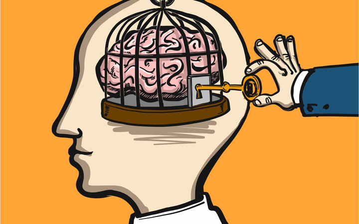 opening mind - conceptual vector illustration of cage in head with brain inside and hand opening it with key