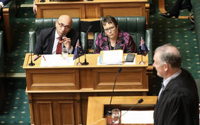 New Zealand First MPs Ron Mark and Tracey Martin listen to a ruling the Speaker