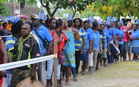 Bougainvilleans queue to vote in their independence referendum, Buka, November 2019.