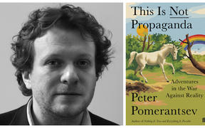 "Peter Pomerantsev and the cover of his book ""This is Not Propaganda"""