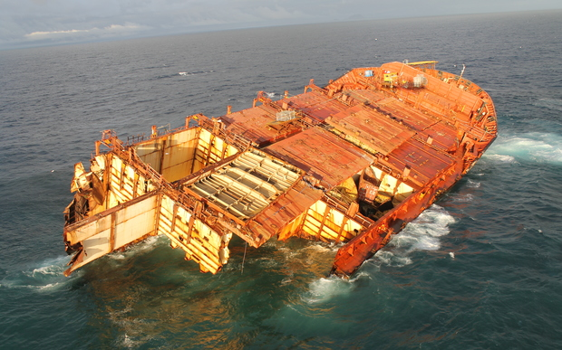 Salvage efforts are continuing on the Rena's bow wedged on Astrolabe Reef.