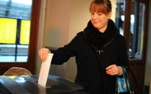 Amsterdam votes in the referendum on the association between Ukraine and the European Union.